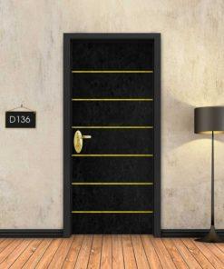 בטון שחור 6 פסי זהב D136