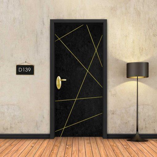 בטון שחור פסי זהב מופשטים D139