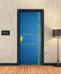כחול 2X2 פסי זהב D263