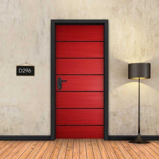 אדום 6 פסים שחורים D296
