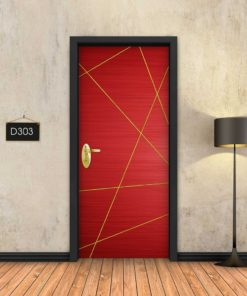 אדום פסי זהב מופשטים D303