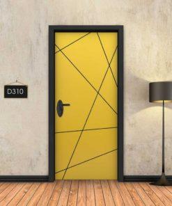 צהוב פסים שחורים מופשטים D310