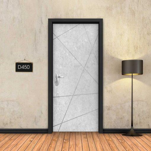 בטון לבן פסי ניקל מופשטים D450